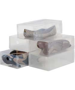 Set Of 5 Plastic Shoe Box Storage Drawers Clear Shoe Box