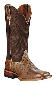 Ariat® Nitro™ Ladies Tan Metallic w/ Burnt Rust Top Square Toe Western Boot