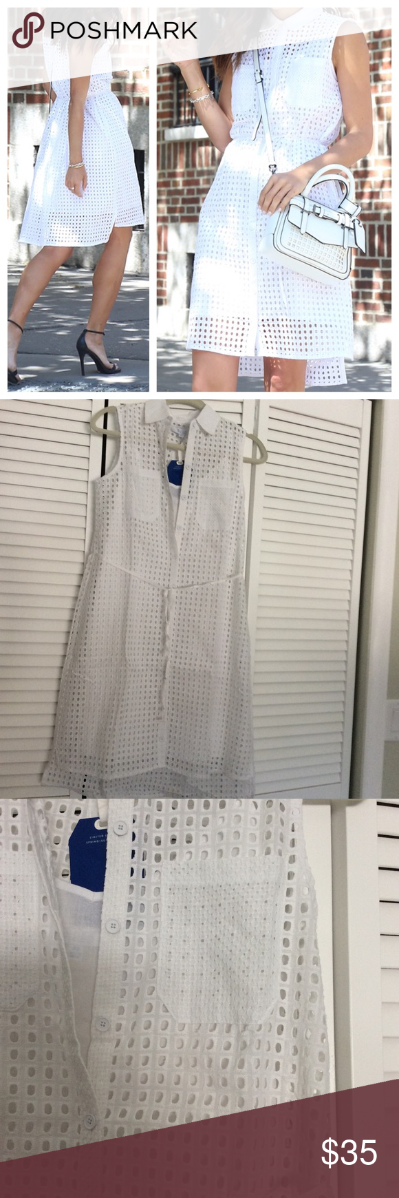 """Reed Eyelet Dress Chic white, eyelet shirtdress, has removable under slip. 2 chest pockets and buttons all the way down. Approximately 36"""" in front and 39"""" in back. Reed for kohls, true to size.   *Condition: New   No Trades ✅ Discounted Bundles ✅ Reasonable Offers Reed Dresses"""