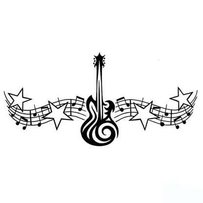 Music Theme Tattoo Design Tribal Guitar And Notes Bar