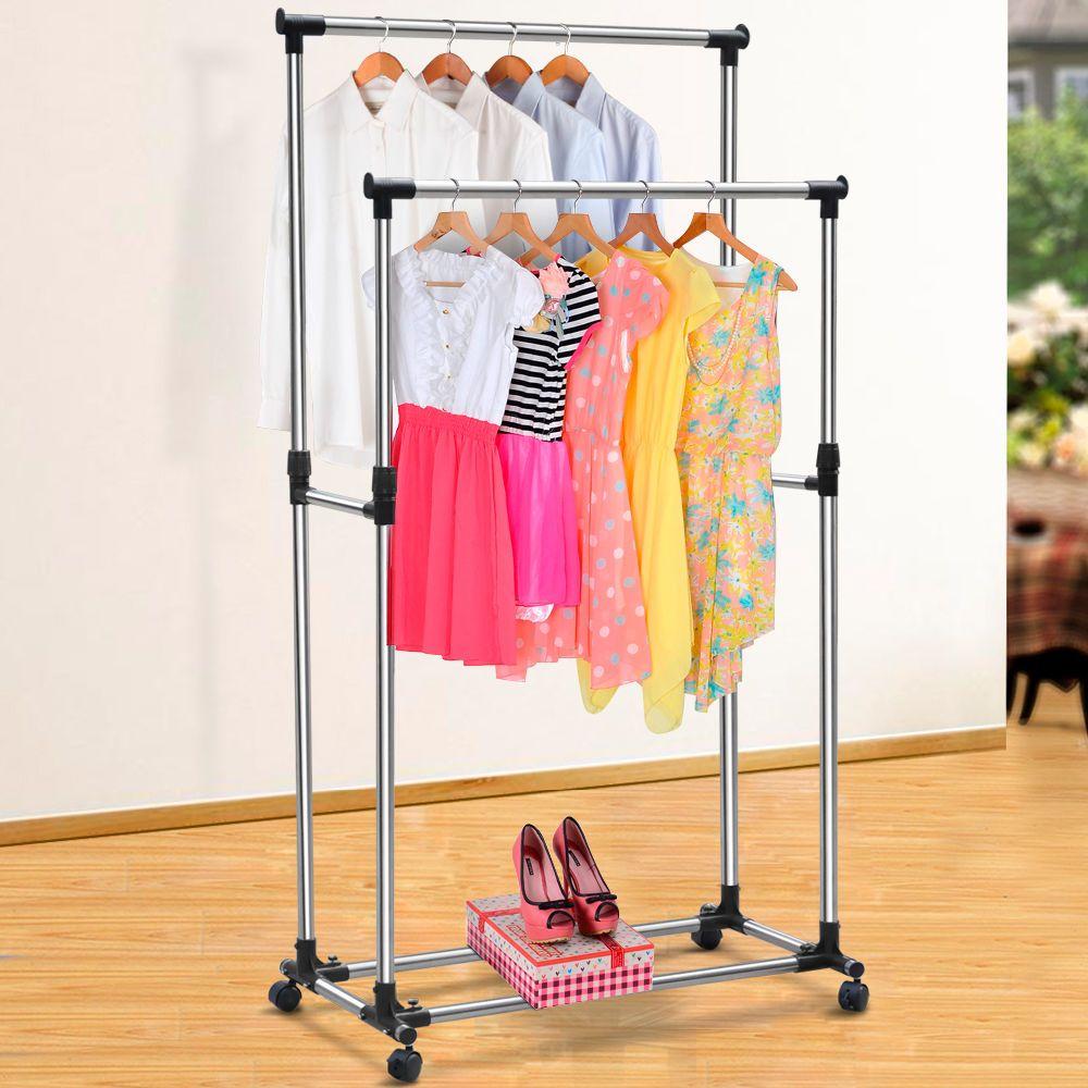 Double Adjustable Portable Clothes Hanger Rolling Garment Rack Heavy Duty  Rail