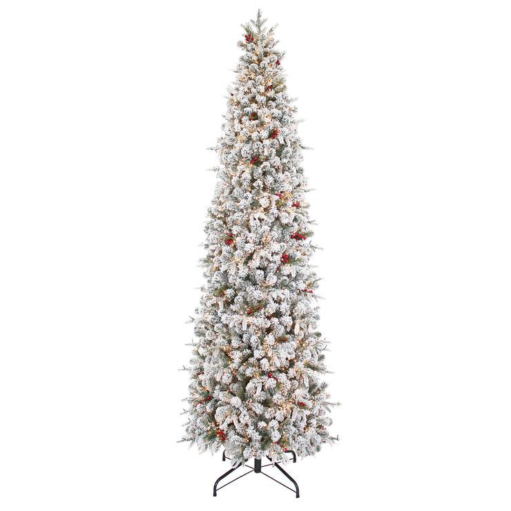 D33 9 Pre Lit Sussex Flocked Berry Fir Tree With 2 100 Warm White Led Cluster Lights Cluster Lights Christmas Trees In House Fir Christmas Tree