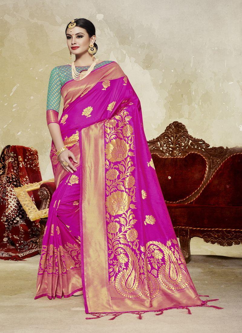 1859d6efe Pink n green two tone banarasi silk wedding saree in 2019
