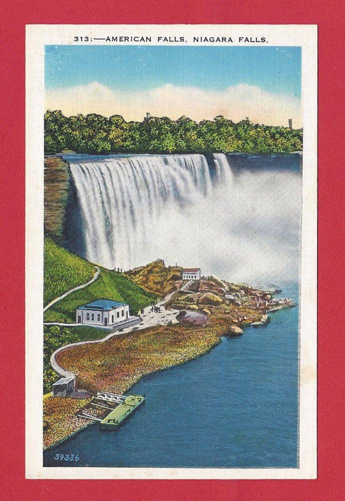 Niagara Falls New York American Falls Vintage Old Linen Postcard C. 1930's