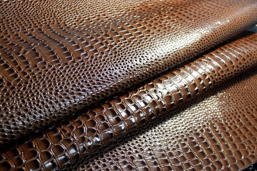 Faux Leather Vinyl Embossed Alligator Crocodile Shiny