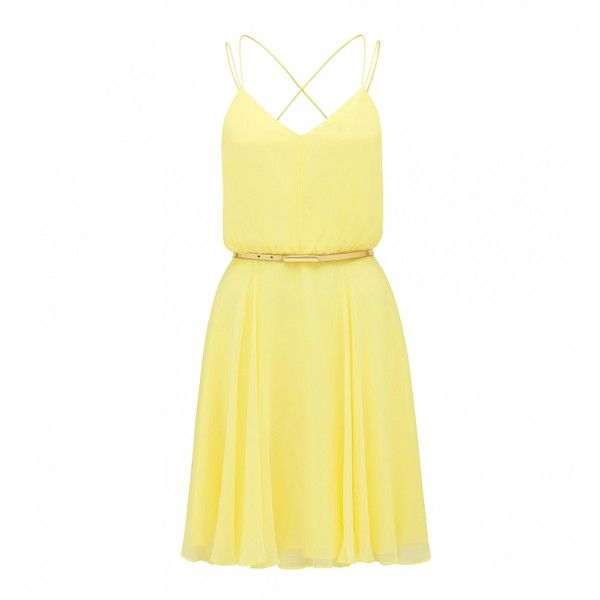 Forever New Ariana soft prom dress (£34) ❤ liked on Polyvore featuring dresses, vestidos, yellow, sunrise yellow, yellow dress, yellow cocktail dress, forever new, summer cocktail dresses en summer dresses