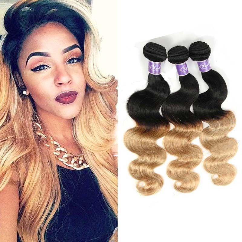 Two Tone Ombre Brazilian Body Wave 3 Bundles Color 1b27 Blonde