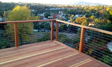 Redwood Deck And Cable Railing Modern Deck Other Metro By San Diego Cable Railings Railings Outdoor Deck Railings Redwood Decking