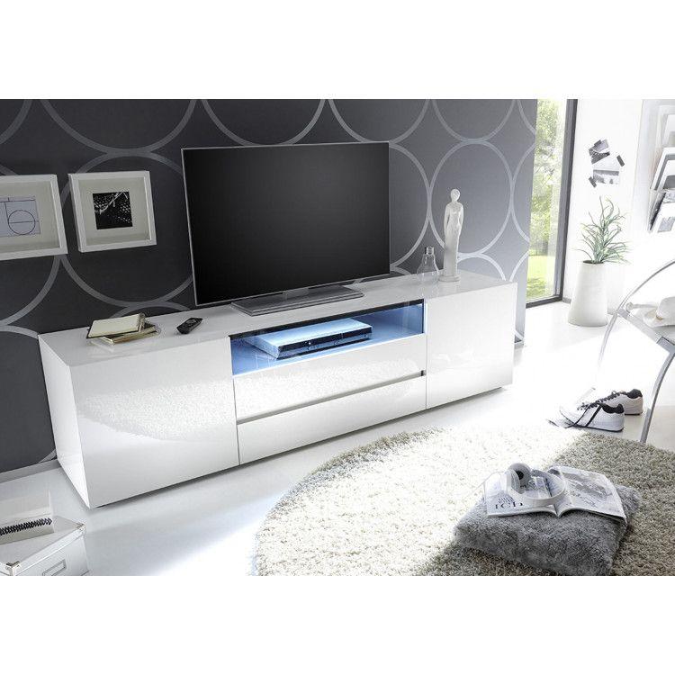 Meuble Tv Moderne Laque Blanc Hortense Matelpro Meuble Tv Moderne Meuble Tv Meuble Tv Angle