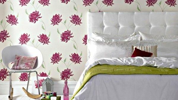 Schlafzimmer muster ~ Schlafzimmer muster auf der wand deko ideen dekoration