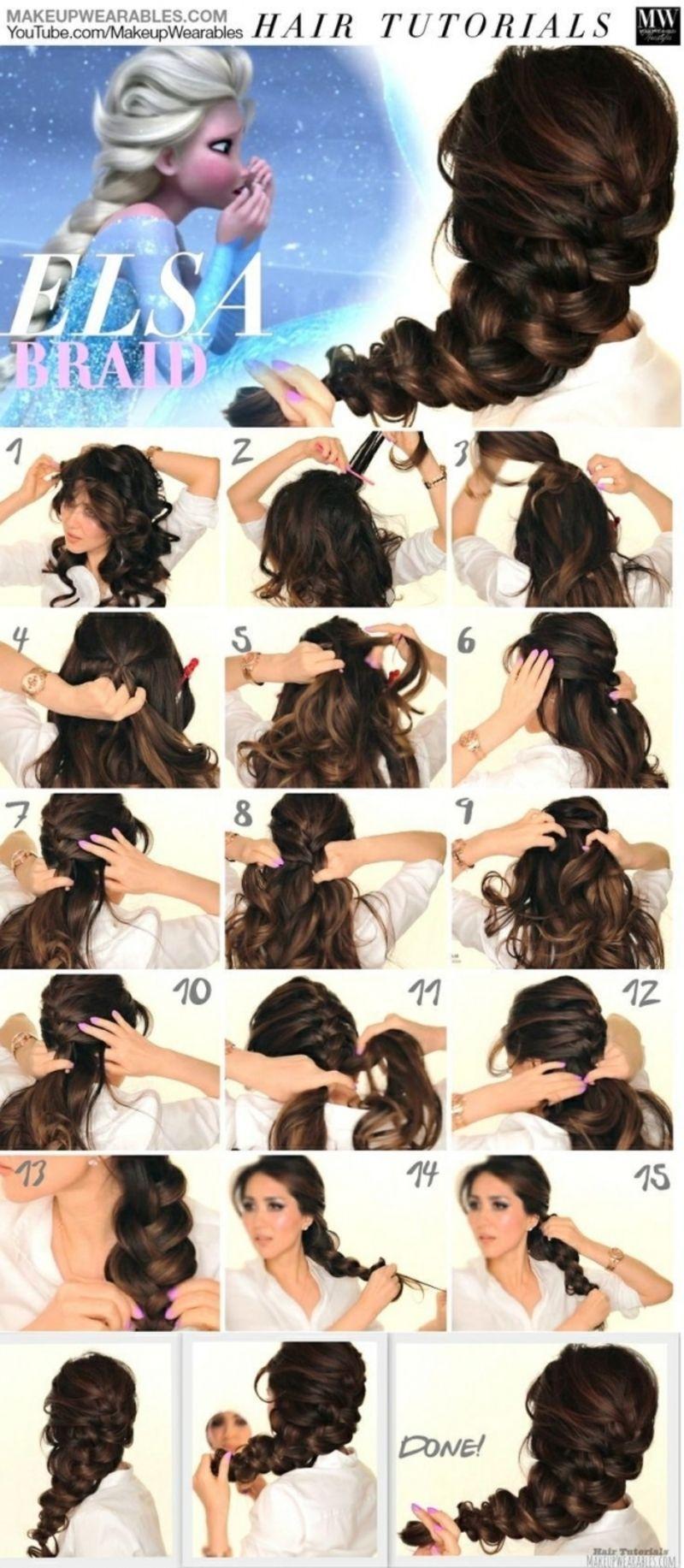 Elsa Braid - Fancy Braided Hairstyle,Bun French Hairstyle Triple Braided