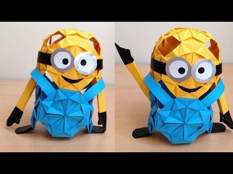 折り紙のミニオン 立体 簡単な折り方 Origami Minion 3d Niceno1 Youtube 折り紙 折り紙 作り方 3d 折り紙