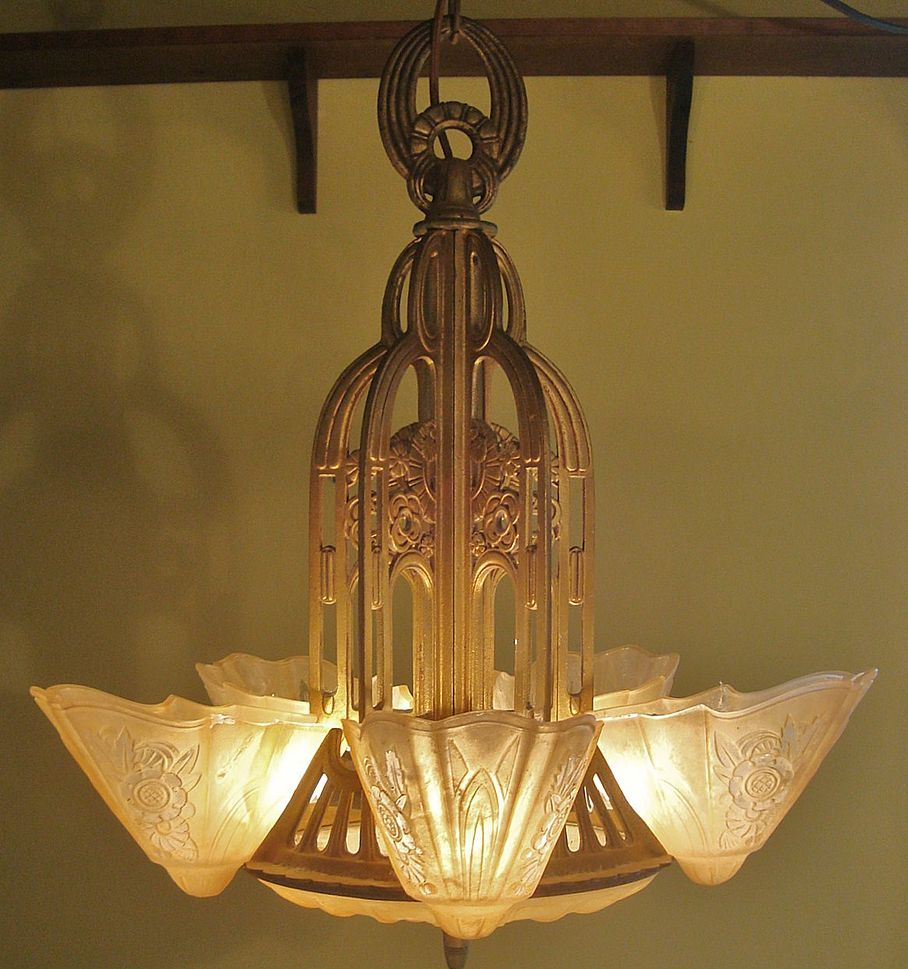 Exquisite 5 light art deco lightolier slip shade dome stylux cma 71 removed art deco chandelierart deco lightingantique arubaitofo Gallery