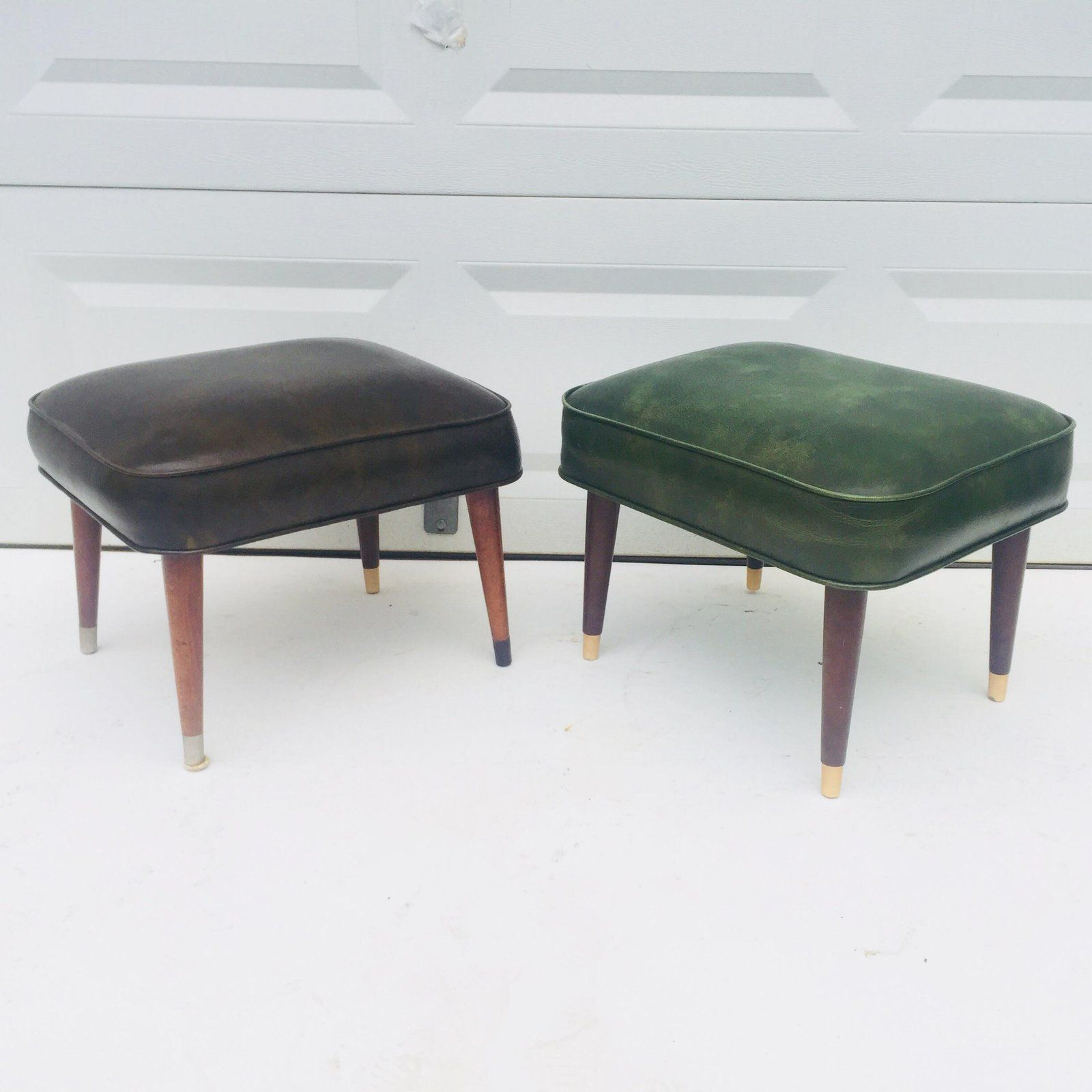 Pair Mid Century Ottomans For Sale Image 12 Of 12 Ottoman
