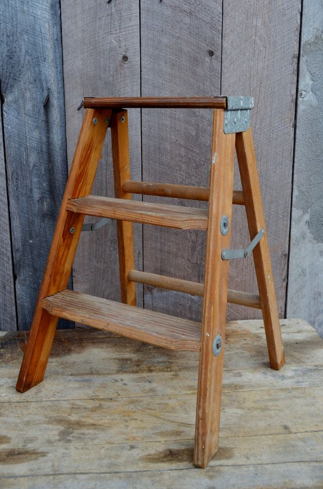 Step Ladder Vintage Small Wooden Folding Step Stool Industrial Decor Display Shelf Man Room Garage Rustic Folding Step Stool Step Ladders Wooden Step Stool