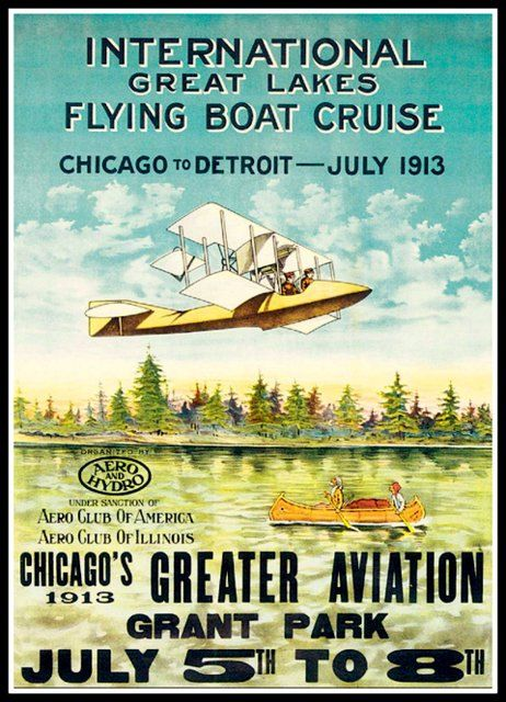 POSTER GREAT LAKES FLYING BOAT 1913 AVIATION GRANT PARK  VINTAGE REPRO FREE S//H