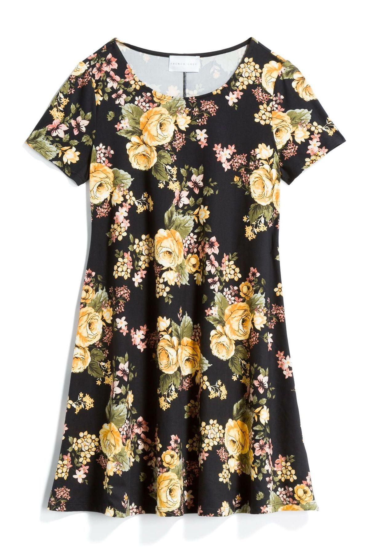 French grey black dress with yellow floral rose print stitch fix