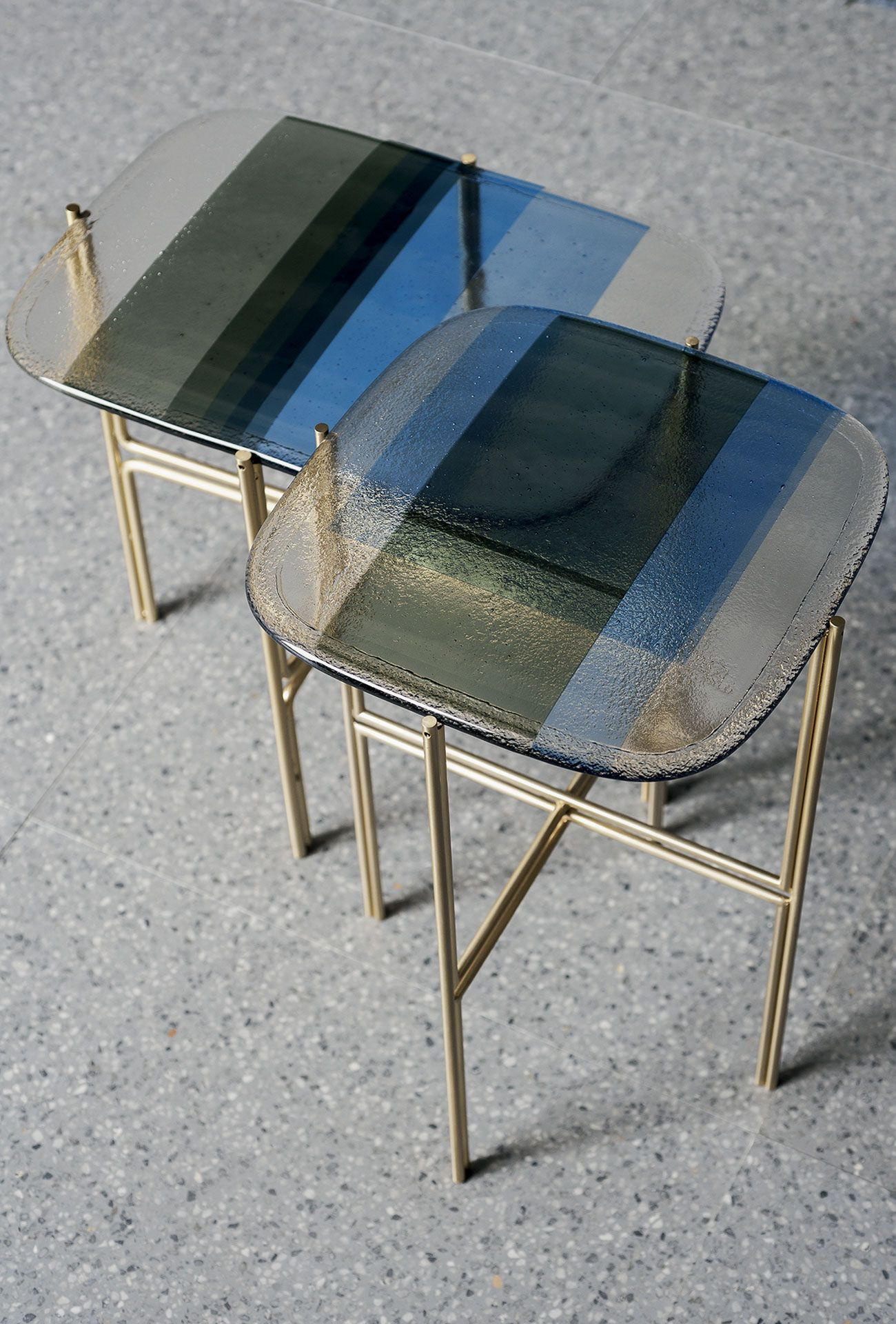 Blue Artistic Fused Glass Made Of Murano Glass Baxter Brass Furniture Glass Top Table Coffee Table Design