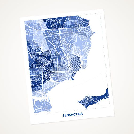 Map Pensacola Florida.Pensacola Florida Map Art Share Your Love For Beautiful Sunsets On