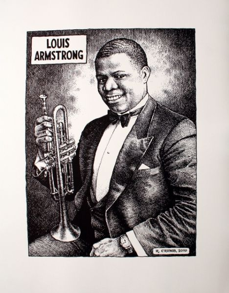 r crumb louis armstrong poster black