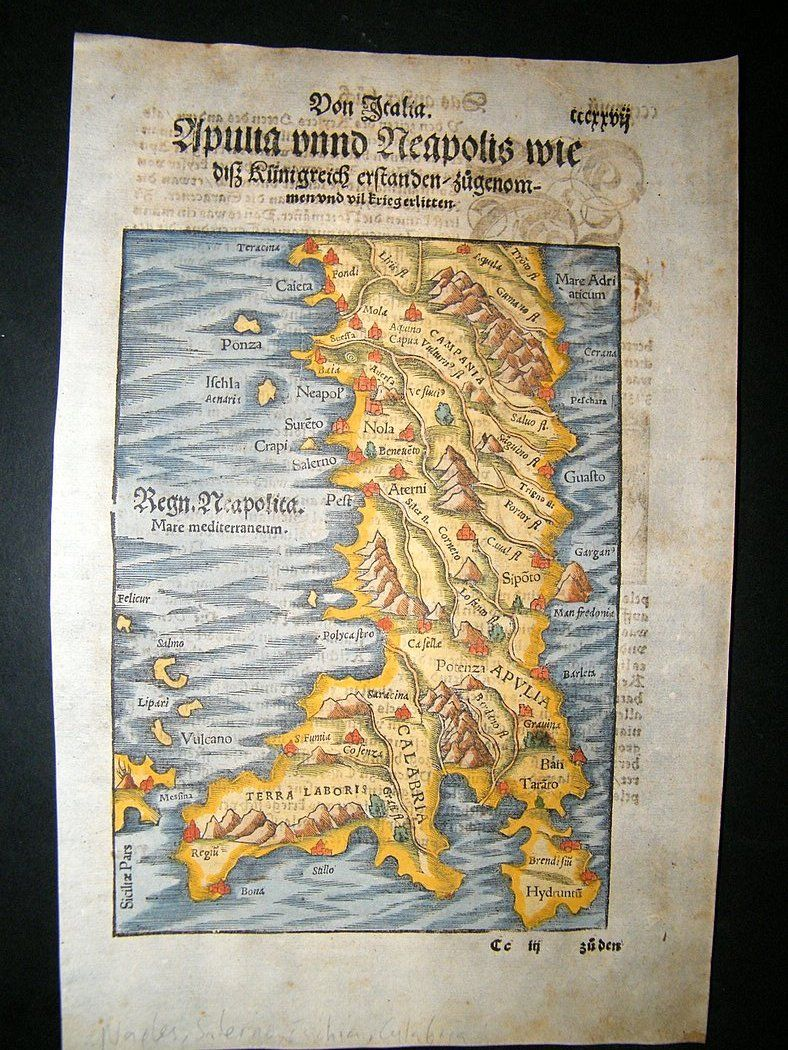 Munster C1570 Hand col Woodcut Map. Italy, Naples, Salerno