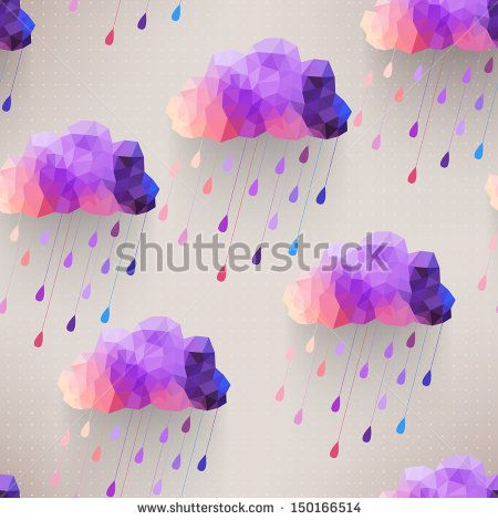 Retro cloud seamless pattern with rain symbol, hipster background made of triangles Retro background with rain drop pattern.Square composition with geometric shapes.Weather backdrop. Autumn template. - stock vector