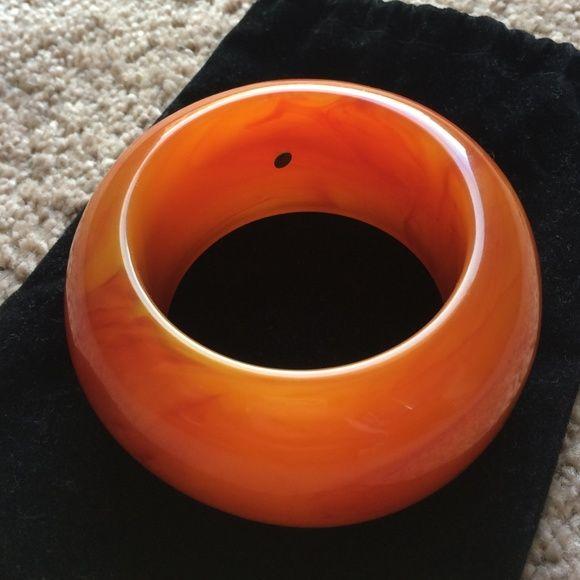Kenneth Jay Lane resin bangle bracelet Orange red swirl design. Like new Kenneth Jay Lane Jewelry Bracelets