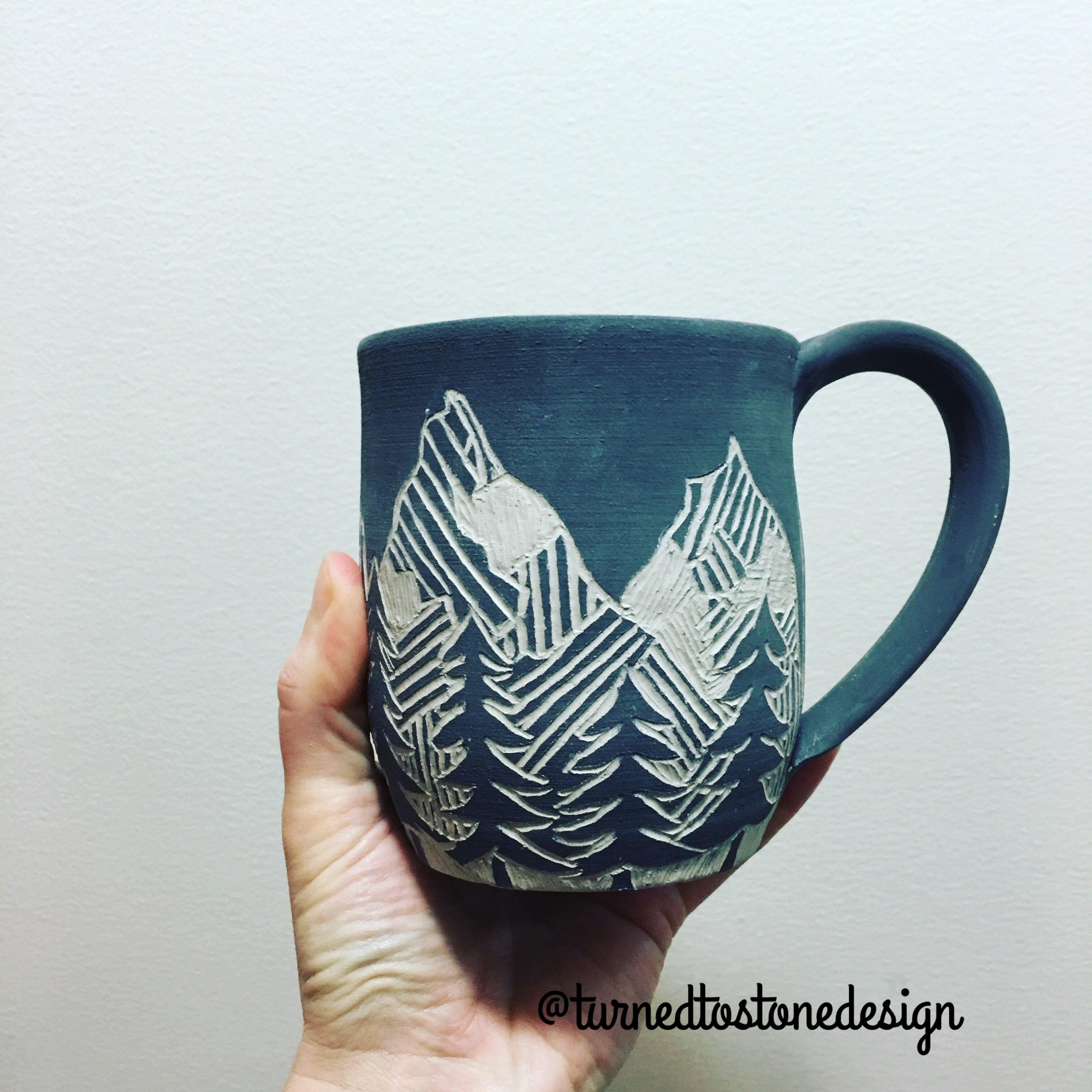 Sgraffito mountain mug by turned to stone design pottery for Ceramic design ideas