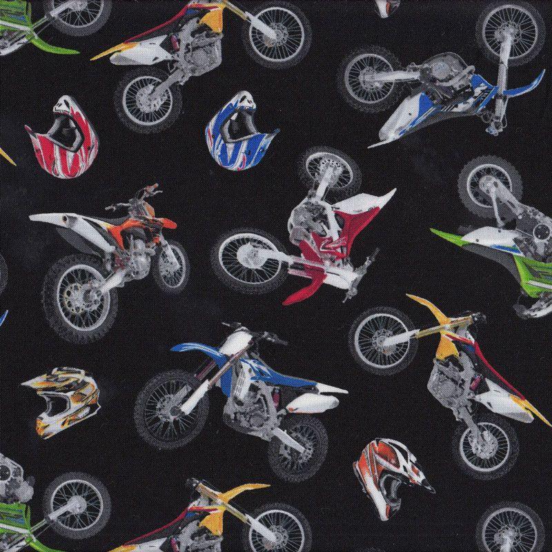 Dirt Bikes Helmets on Black Boys Kids Sport Adventure Quilt Fabric ... : motorcycle quilting fabric - Adamdwight.com