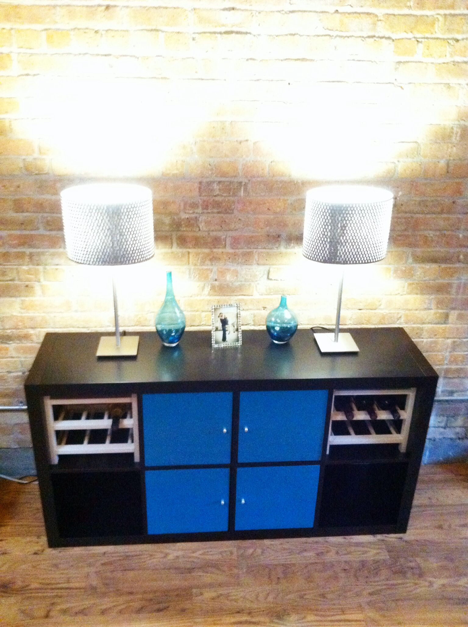 """My DIY Wine Buffet. This is an Ikea hack of the expedit shelf, which is now called """"Kallax."""" I ..."""