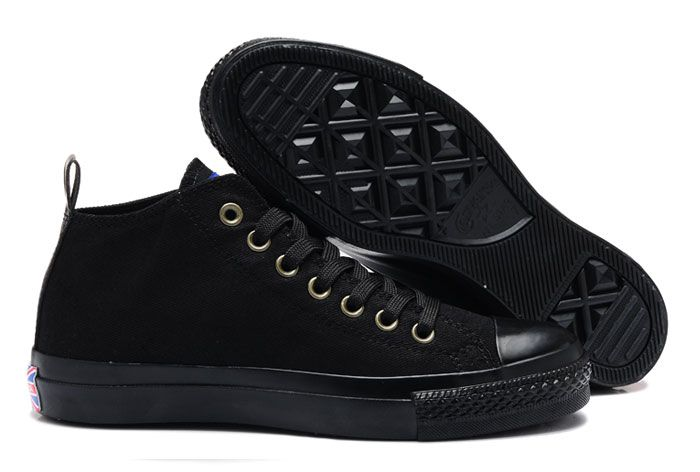 Monochromatic Converse Black British Union Flag Mid Tops Chuck Taylor All  Star Canvas Sneakers : Converse american flag shoes and converse platforms  shoes ...