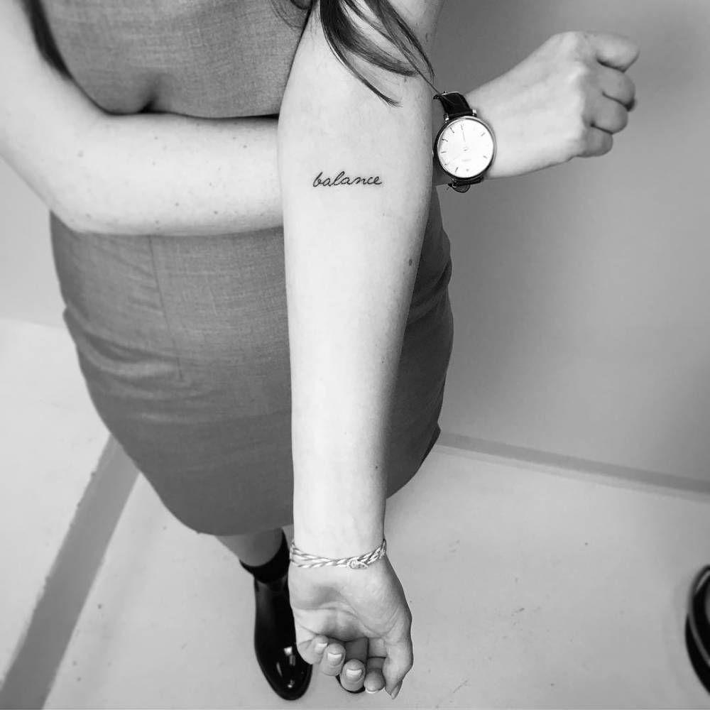 Balance Tattoo On The Inner Forearm Tattoo Artist Iosep Ambokadze Balance Tattoo Forearm Word Tattoo Inner Elbow Tattoos