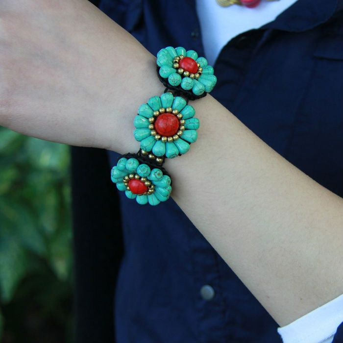 Thai ethnic jewelry wholesale turquoise flower shape copper beads woven bracelet T-16