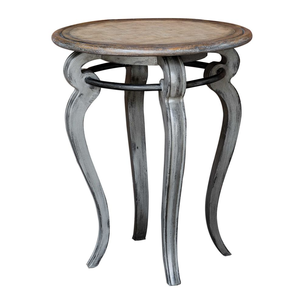Uttermost Mariah Round Gray Accent Table Wood Accents Iron Ring