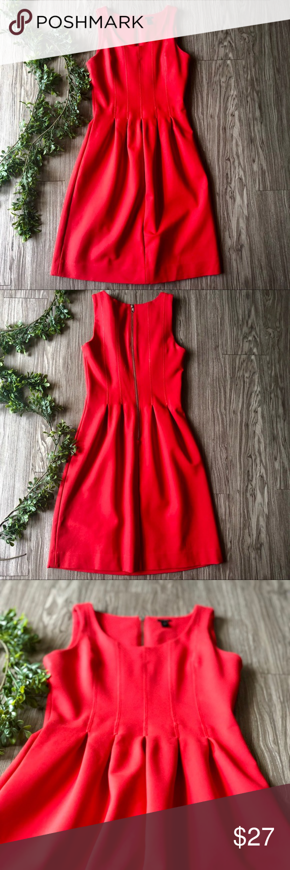 J Crew Red Pleated Dress J Crew Bright Red Pleated Dress. Scoop neck, thick spaghetti strap. Exposed zipper in back. Small area of discoloration on front, pictured, though very hard to see in photo and in person. Thick, super stretchy material. Good pre-owned condition.  Bust: 15