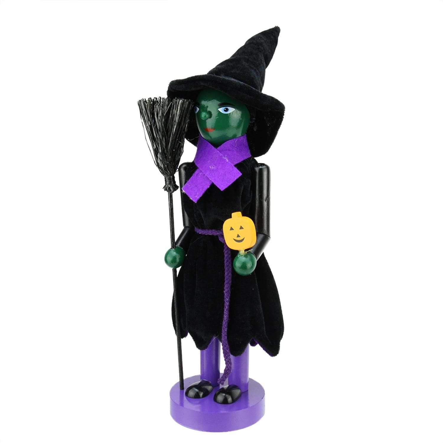 14 Green Witch Decorative Wooden Halloween Nutcracker Holding Broom ...