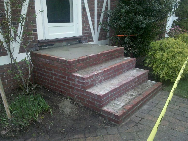 Bluestone steps with brick brick steps in progress for Brick steps design ideas