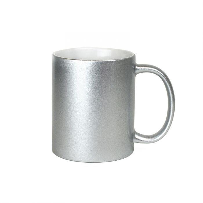 Metallic Silver Ceramic Sublimation Coffee Mug - 11oz