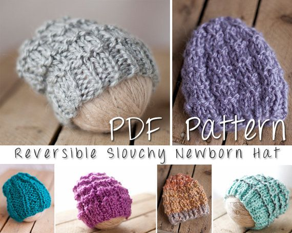 Reversible Slouchy Newborn Hat Pattern Hipster By Maggieandgray