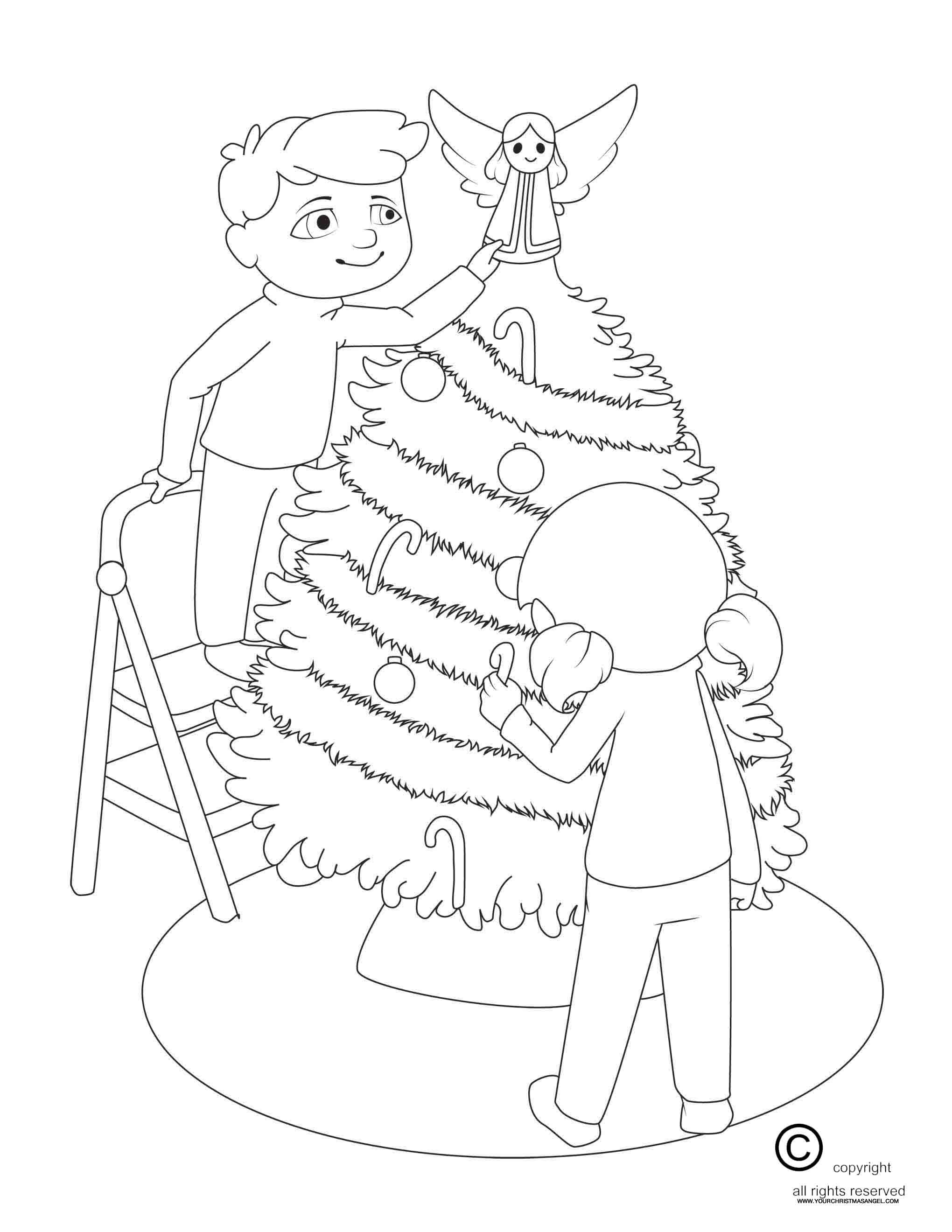 Decorate the tree Coloring Page The Christmas Angel