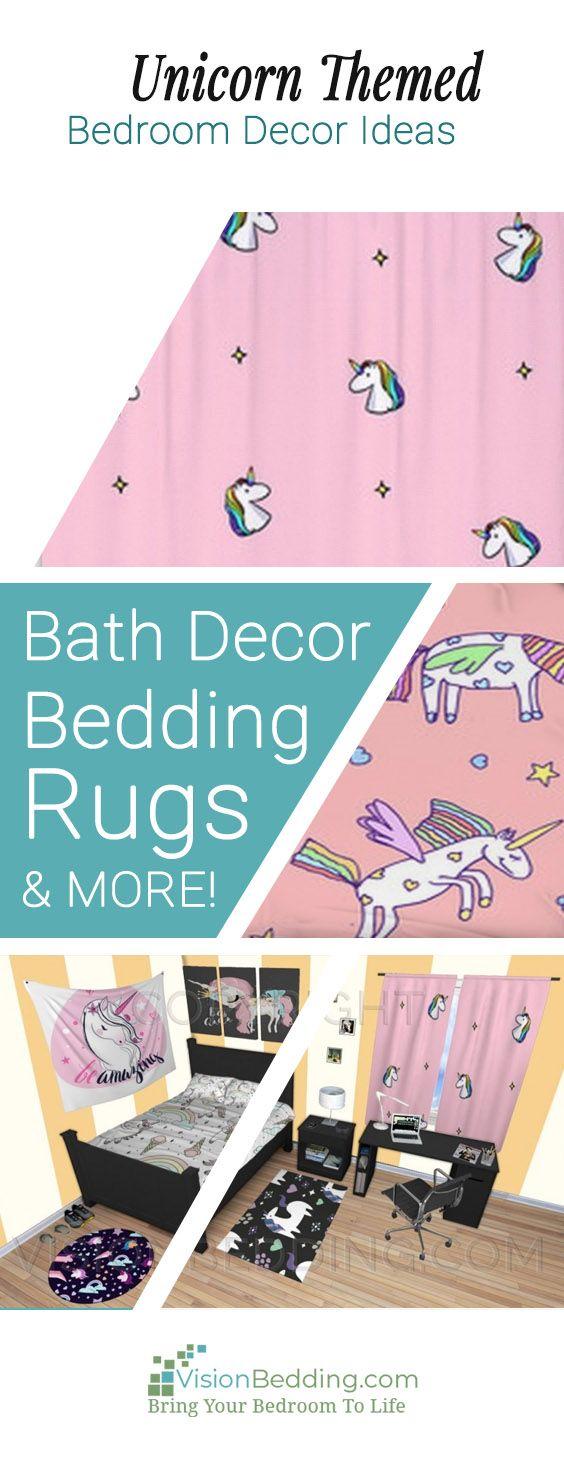 Cool unicorn themed bedroom decorating ides. Create a unique personalized unicorn themed bedroom. Decorating ideas for your entire bedroom from floor to ceiling! #unicornhomedecor #unicornbedroomdecorideas #unicornbedding #unicornbeddingsets #unicorncomforters #unicornduvetcovers #unicornpillows #unicornwindowcurtains #unicornrugs #unicornblankets #unicornwallart #unicornwallmurals #unicornshowercurtains #unicornbathdecor #unicorn #unicorntheme #personalized #customsize #buy #unique #custom #vis