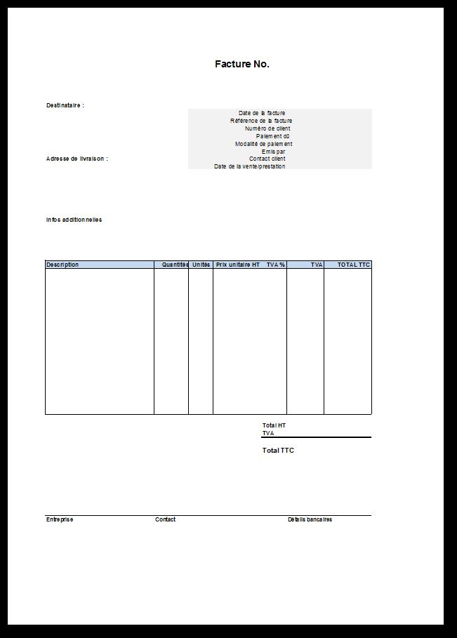 Modele_facture_vierge_Excel … | Modele facture, Modèle de ...
