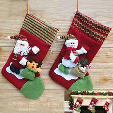Large Traditional Christmas Stocking Santa Snowman Tree Decoration Gift Bag
