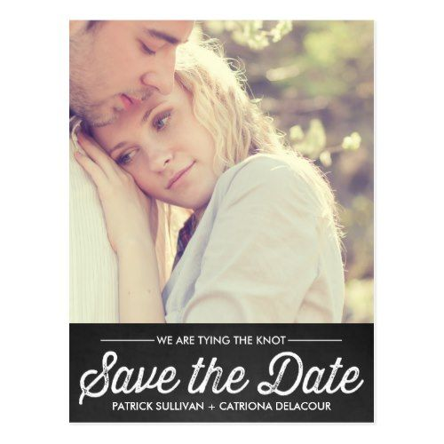 Shabby Chic Save the Date Cards RUSTIC CHALKBOARD | PHOTO SAVE THE DATE POSTCARD