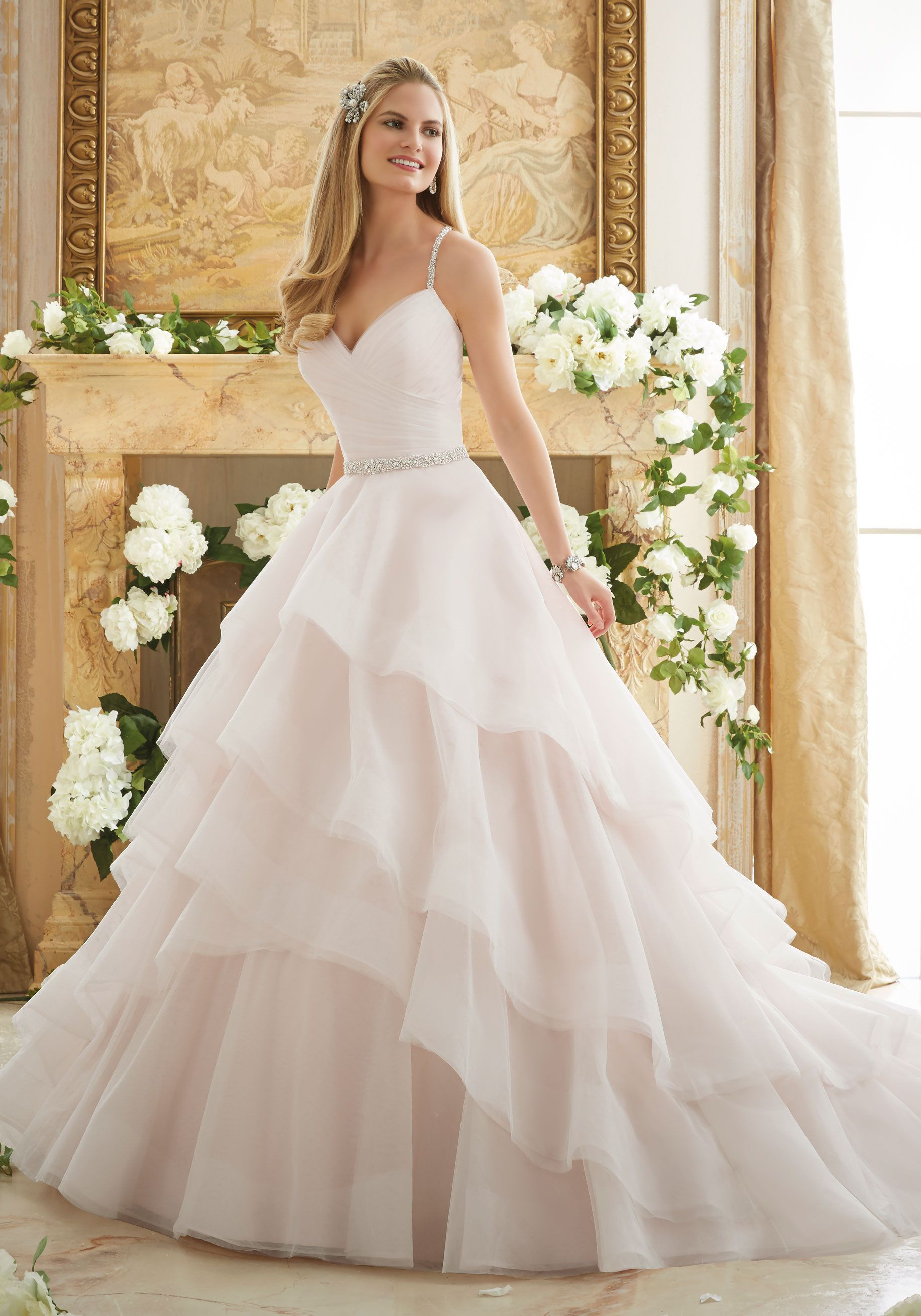 Crystal Beaded Straps on a Billowy Tulle Ball Gown Wedding Dress