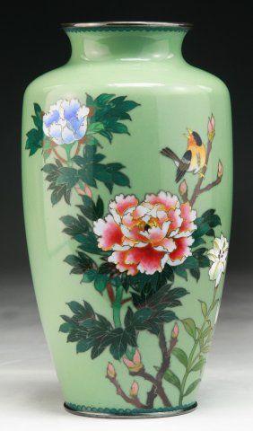 A Japanese Antique Silver Ando Cloisonne Vase On Art Japanese