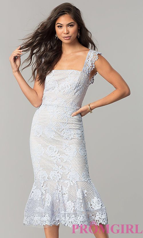 Sky Blue Lace Wedding Guest Dress With Lining