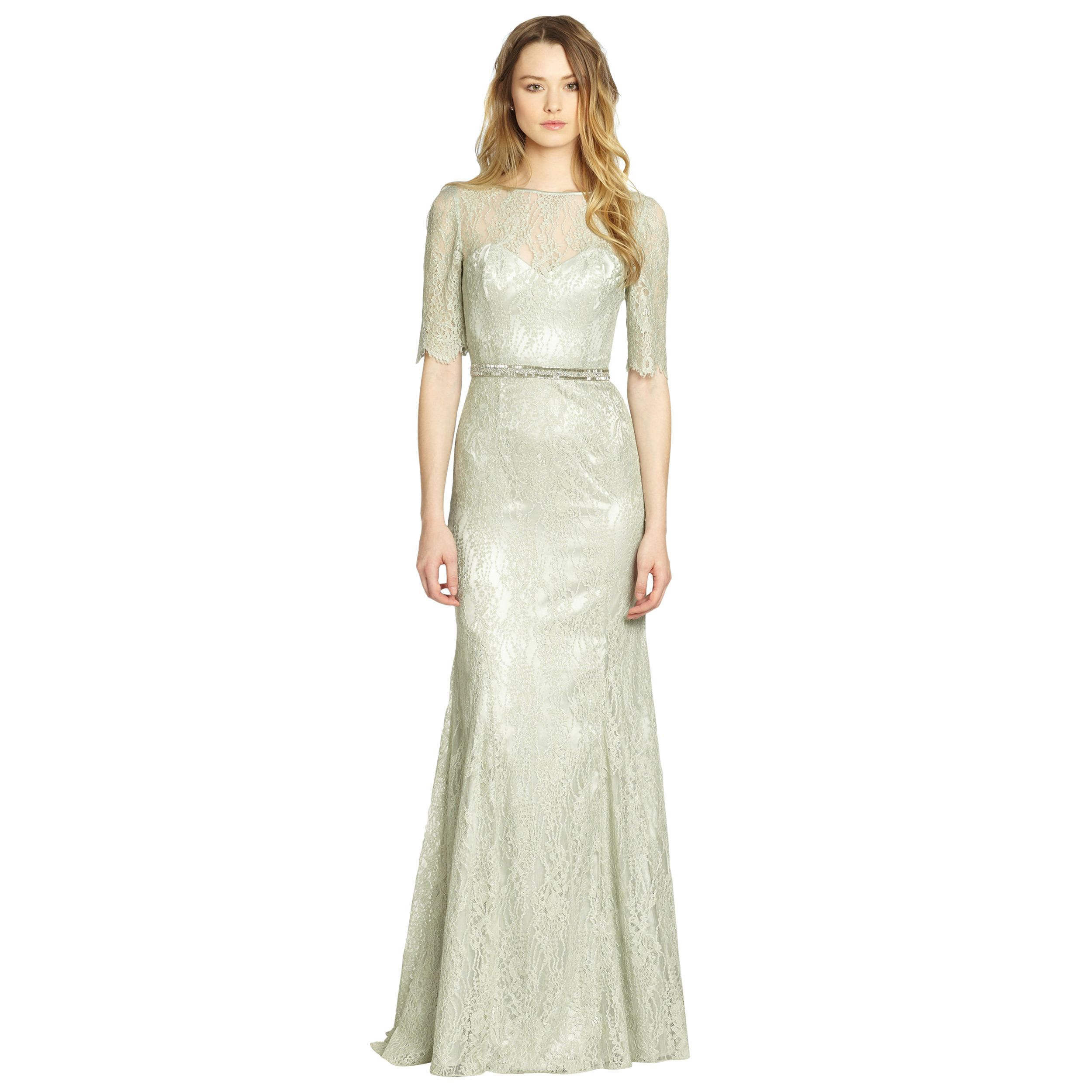 Silver With Net Simple Off White Dress