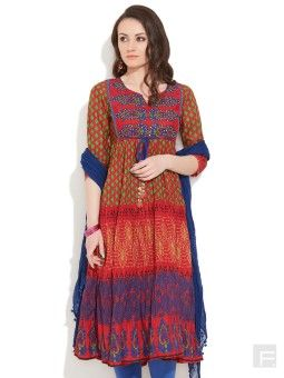 Redcolor Rufescent Diva Anarkali by RAIN and RAINBOW