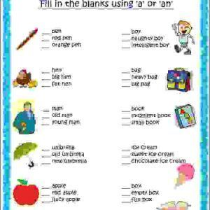 English grammar worksheet for grade 2 kids to practice articles a ...